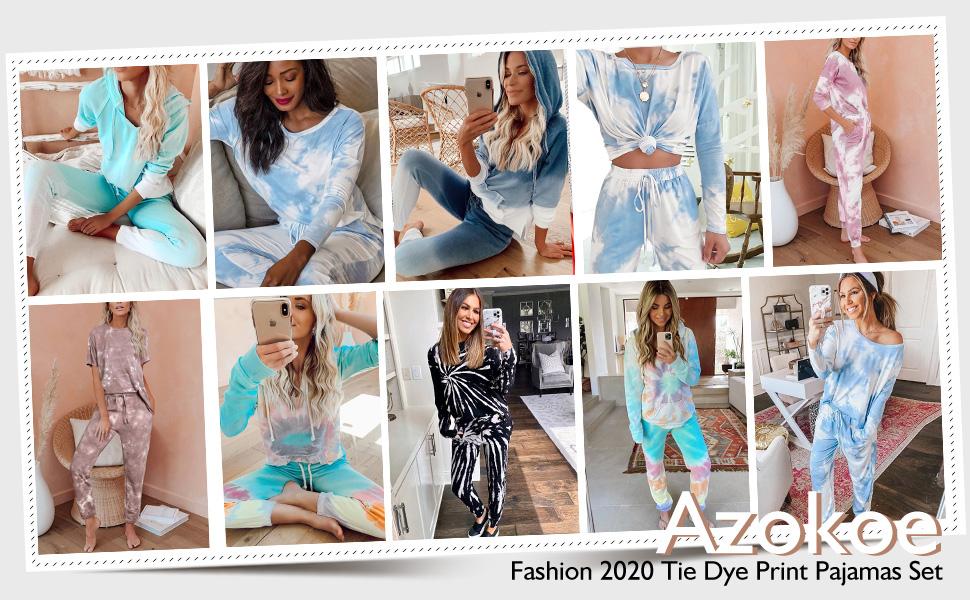 Women Juniors Jersery Pajamas Set Crewneck Tie Dye Printed Jogger Pants PJ Set Loungewear