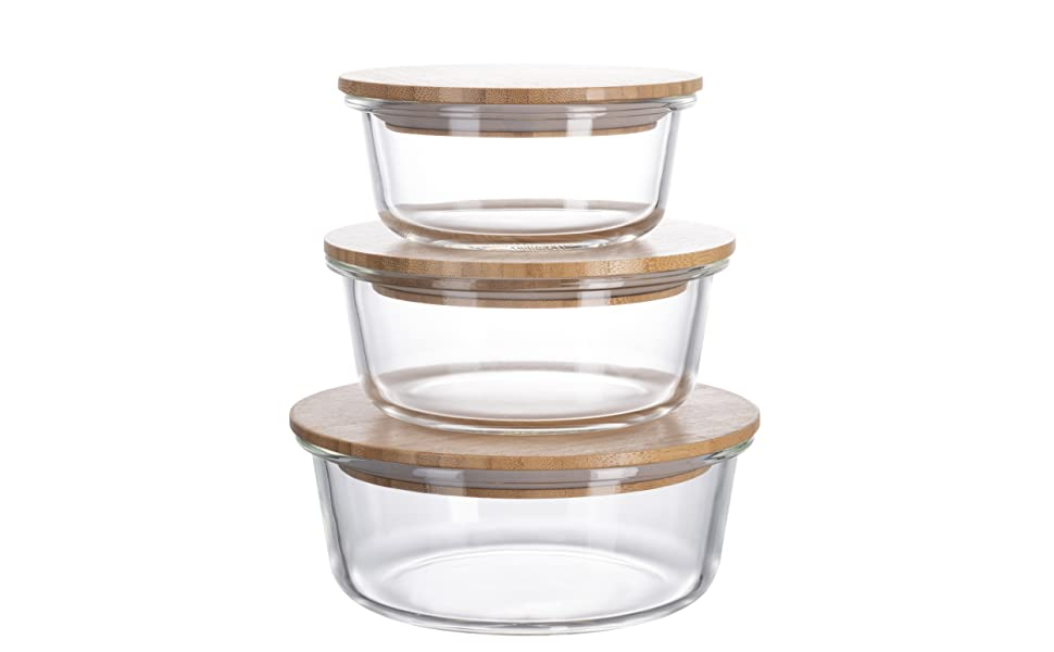 homiu glass container bamboo wood lids sealed food container