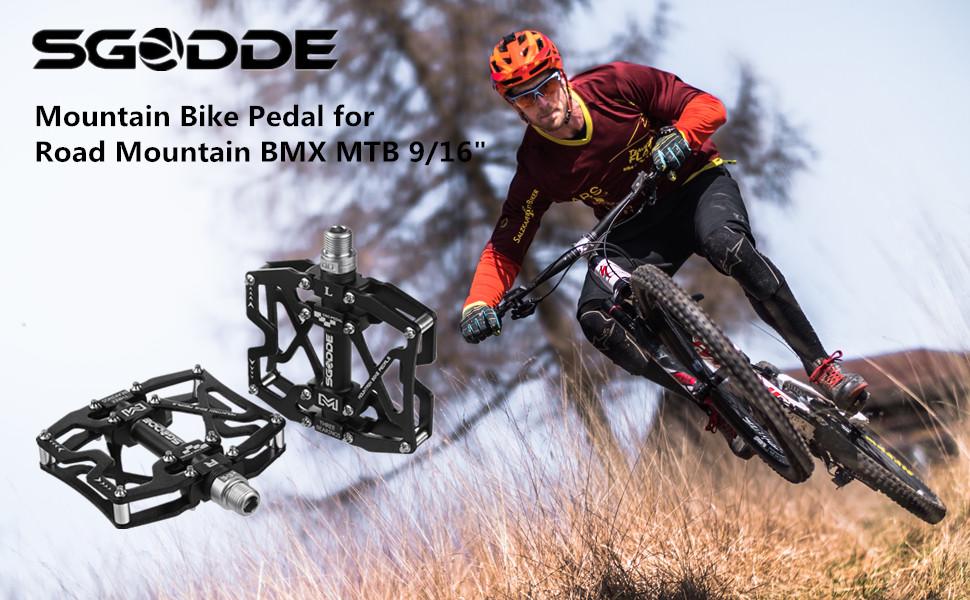 2x Bike Aluminum Metal MTB Mountain Road Pedals Flat Platform Bicycle Pedals D2