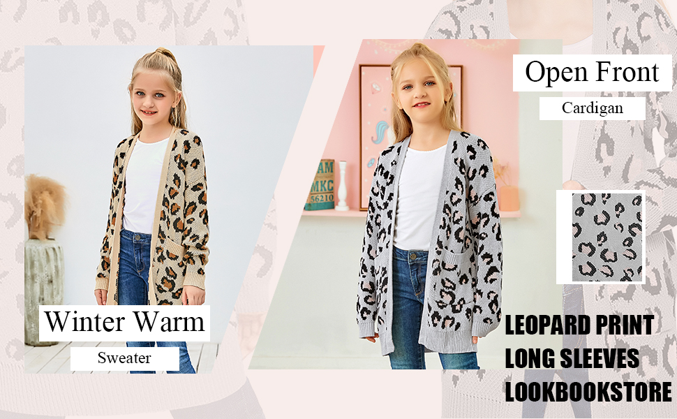 Leopard Printed Girls Open Front Knit Sweater Cardigan Pocket Outerwear 4-13 Years