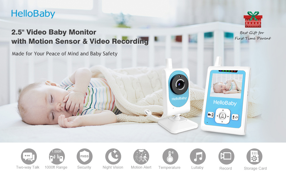 Energy-saving VOX//ECO mode Peiloh Baby Camera Monitor with 3.5 Inch Colour Screen Sound Activated Night Vision Holder for Cot Video Monitor Magnification 2-Way Talk Super-easy Install