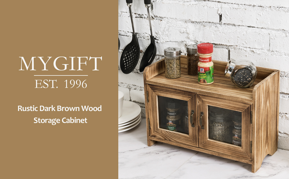 Amazon Com Mygift Rustic Dark Brown Wood Kitchen Bathroom Counter Top Storage Cabinet With Glass Windows Furniture Decor