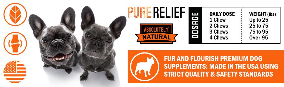 pure relief dog hip joint glucosamine hemp supplement dysplasia inflammation arthritis pain treats