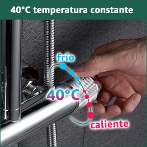 AiHom 40/°C Termost/ática Conjunto de Ducha Redondo para Ba/ño Columna de Acero Inoxidable Ducha de Mano con 3 Tipos de Chorro Mezclador Cromo
