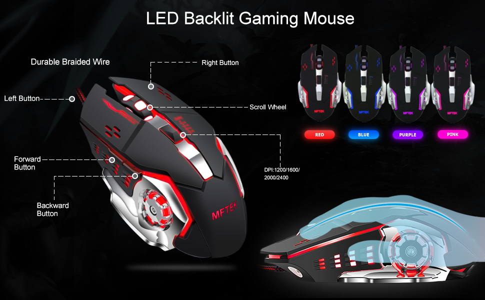 MFTEK 60% GAMING KEYBOARD AND MOUSE COMBO, ULTRA COMPACT 61 KEYS TKL DESIGN GAMING KEYBOARD WITH RGB RAINBOW BACKLIT, ILLUMINATED GAMING MOUSE, USB WIRED KEYBOARD MOUSE SET FOR LAPTOP PC PS4 GAMER