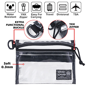 pvc clear makeup bag with three insert compartment d ring buckles for clip on bag durable ykk zipper