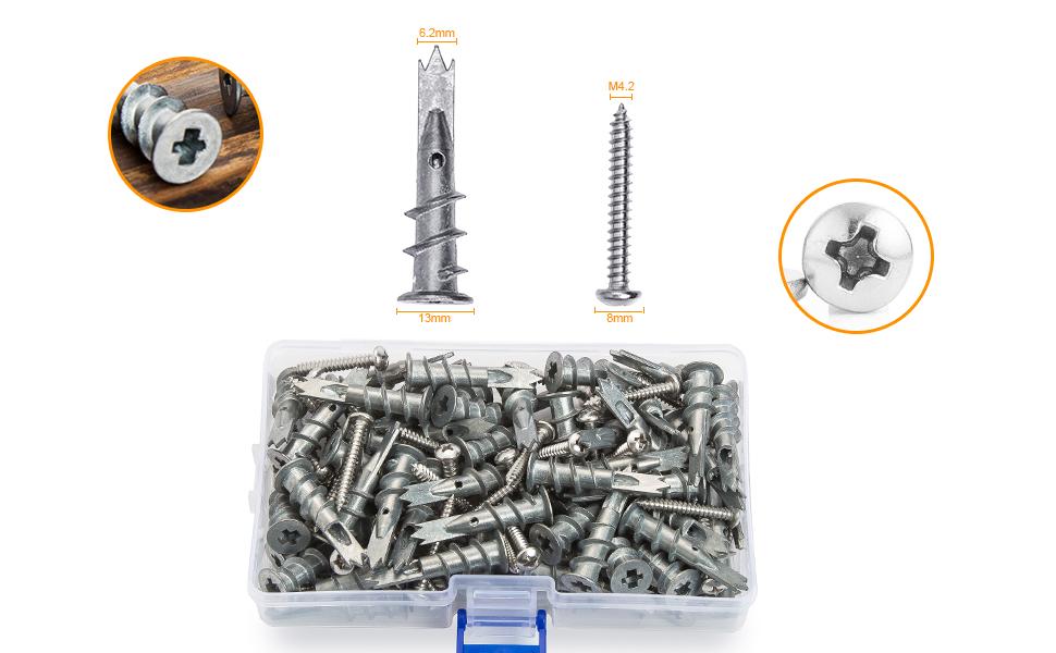 JUIDINTO Zinc Drywall Anchors with Screws Assortment Kits