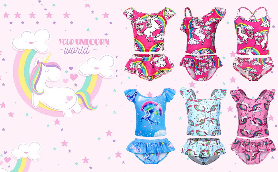 Cotrio Unicorn Swimsuit Girls One-Piece Bikini Swimwear Toddler Shoulder Strap Tankini Bathing Suit