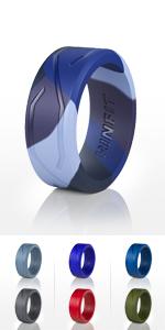 Blue Camo Flexibleamp; Active Wedding Rings