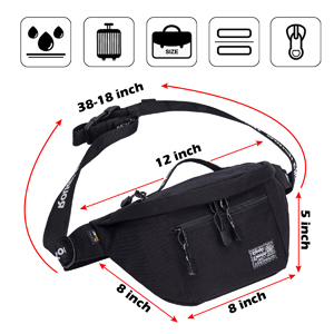 large fanny pack waist pack crossbody bag with zipper pocket compartment lightweight easy to carry