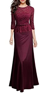Retro Floral Lace Evening Gown Slim Peplum Party Wedding Maxi Dress wine red