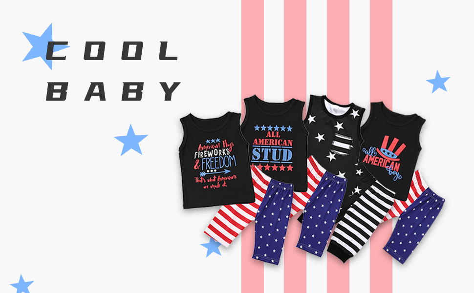 YOUNGER TREE 4th of July Toddler Baby Boy Summer Short Set American Flag Sleeveless Shirt Stripe Shorts 2Pcs Clothes