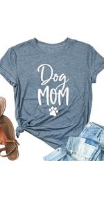 Women Cute Dog Paw Print Dog Mom T Shirt