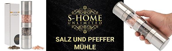 S-Home Unlimited Salz und Pfeffer M/ühle mit Keramikmahlwerk 2in1 Kombi Edelstahl Salzm/ühle Pfefferm/ühle Gew/ürzm/ühle