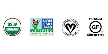 Organic, Non-GMO, Vegan, Gluten-Free