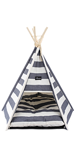 portable pet teepee  sturdy tent bed small dogs cat soft cushion easy assembled cotton canvas tent