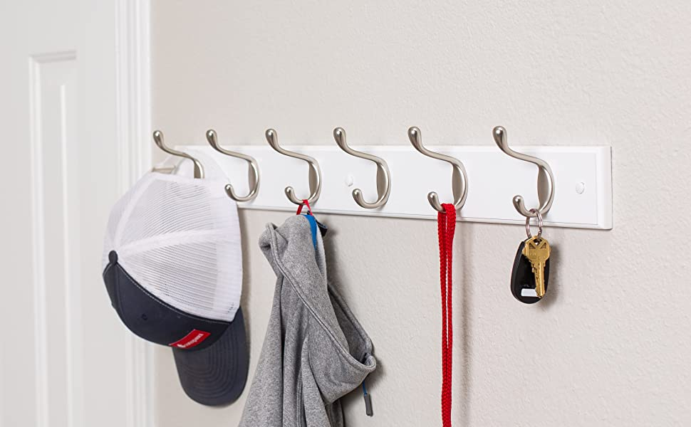 Amazon Com Birdrock Home Hook Coat And Hat Rack 6 Dual Hooks 27 Inches Wall Mount Decorative Home Storage Entryway Foyer Hallway Bathroom Bedroom Rail Satin Nickel