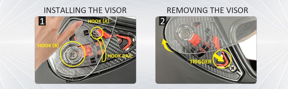 removeble install visor shield