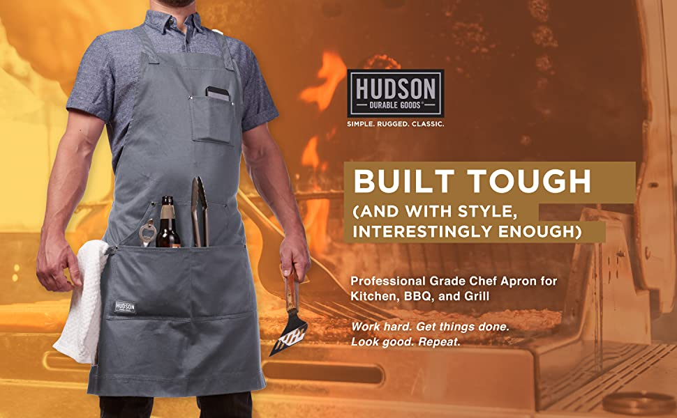 Hudson cotton apron gray front pocket full