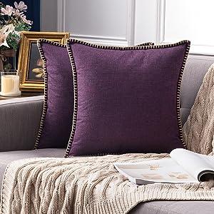farmhouse linen pillow covers plum purple red blue vintage retro rustic