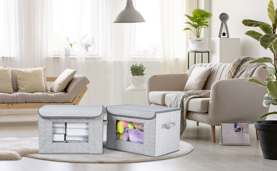 """Foldable Storage Bin - Univivi Larger Storage Cubes [2-Pack] Foldable Storage Box With Lid, Collapsible Storage Bin Organizer Basket With Sturdy Handles For Home, Nursery, Closet (16.92 X 11.8 X 11.81"""")"""