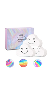 Rainbow Bath Bombs Large Size Organic Bath Bomb Gift Set Idea for Kids Women