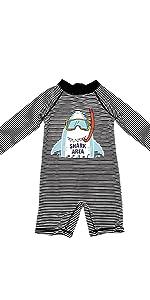 Aschlop L/S Sunsuit Baby boy swim suit black stripe summer cute cool shark