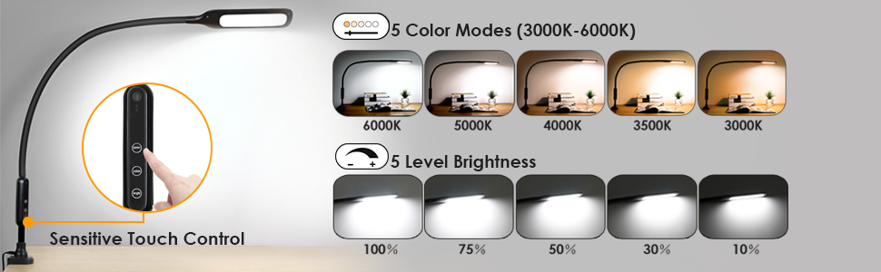 led desk lamp flexible gooseneck touch dimmable metal clamp light with 5 brightness 5 color remote