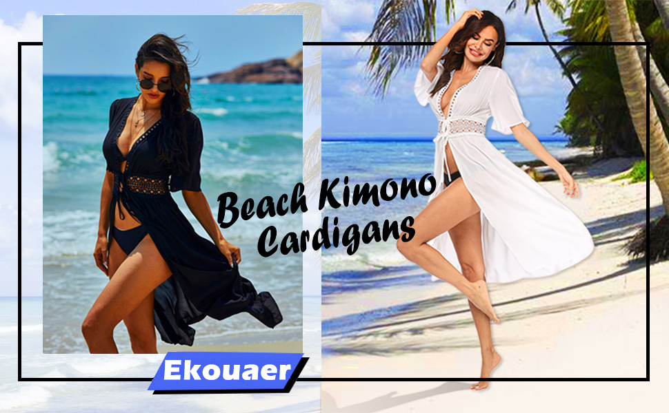 Women's Swimwear Cover Ups Sexy Lace Crochet Open Front Long Swimsuit Kimono Cardigan Beachwear