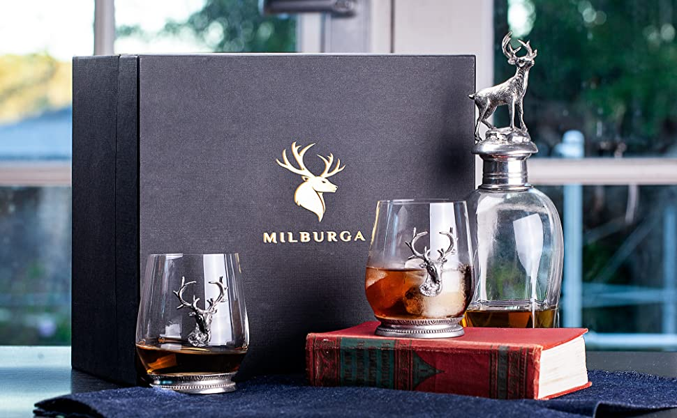 lead free crystal whiskey decanter and glass set, personalized wooden gift box for drinking