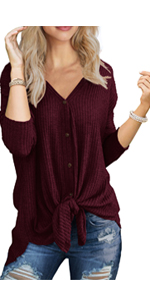 IWOLLENCE Womens Waffle Knit Tie Knot Long Sleeve Henley V Neck Triple Color Block Stripe T-Shirt