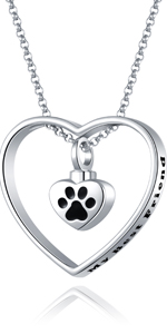 paw print cremation urn necklace