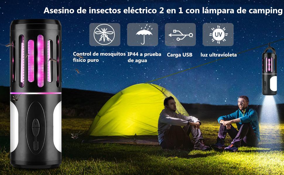BASEIN Asesino de Insectos UV, Trampa de Mosquitos eléctrica, eliminador de Insectos, Asesino de Mosquitos 2en1 con lámpara de Camping contra Mosquitos, Moscas, Mosquitos para Interiores y Exteriores: Amazon.es: Jardín