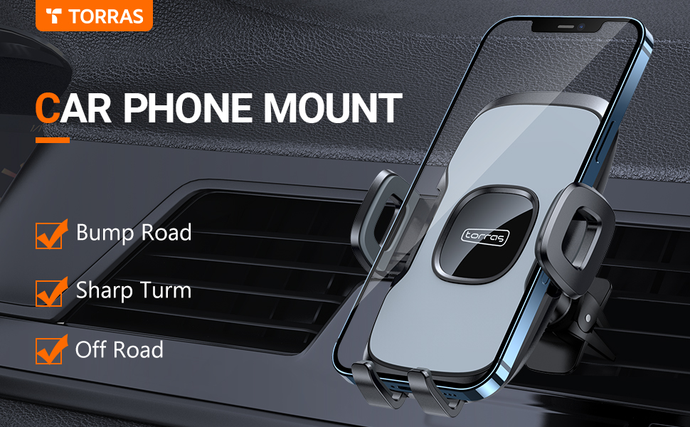 TORRAS Anti-crack Air Vent car phone holder for iPhone 12 11 Pro Max XS Samsung Galaxy S20 Plus