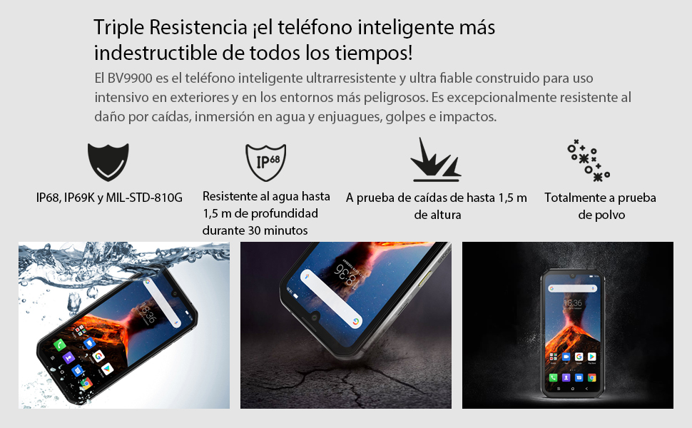 Móvil Resistente (2020) Blackview BV9900, Helio P90 8GB RAM 256GB ROM, Cámara Quad AI de 48MP, Telefono Robusto Antigolpes IP68, 5.84 FHD + Gorilla Glass 5, Carga Inalámbrica NFC Doble SIM Plata: Amazon.es: Electrónica