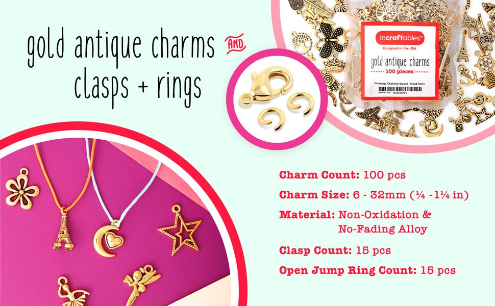 15 pcs Gold Diy Designer Logo Charms