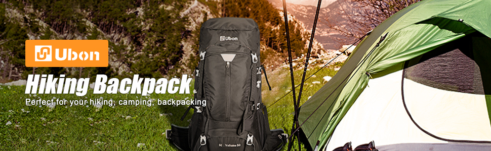 Ubon 50L Internal Frame Hiking Backpack with Air Mesh Panel