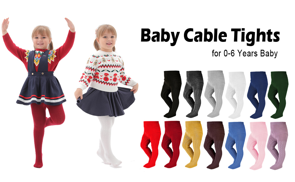 EPEIUS Baby Girl Tights Thick Cable Knit Leggings Cotton Pantyhose for Toddlers Child 2-10 Years