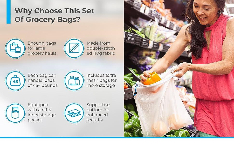 Reusable Folding Grocery & Produce Bags