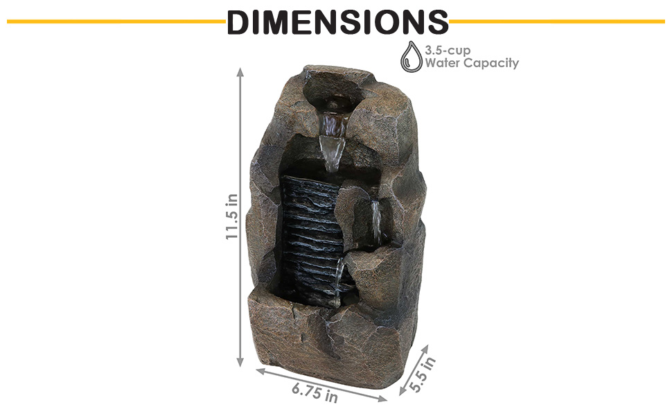 dimensions of fountain