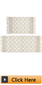 Tan Moroccan Cotton Area Rug Set 2 Piece Washable Printed Cotton Rugs with Tassel
