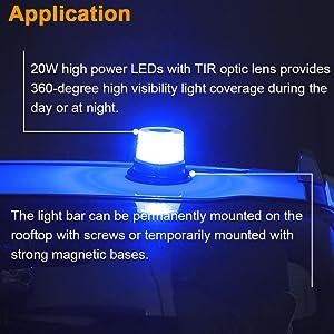 waterpoof 12V 24V blue LED flasher warning beacon light