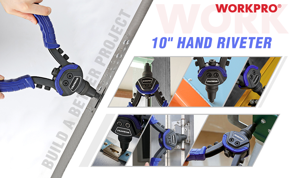 WORKPRO Remachadora Manual con 5 Nasales para Trabajos Pesados 100 Remaches Incluidos: Amazon.es: Bricolaje y herramientas