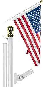 6 Ft Flagpole + 3x5 Ft Brass Grommets Flag (White)