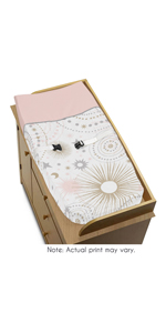 Blush Pink, Gold, Grey and White Star and Moon Changing Pad Cover for Celestial Collection