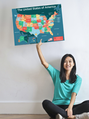 hubble bubble kids usa pledge of allegiance USA made in america poster map geography science