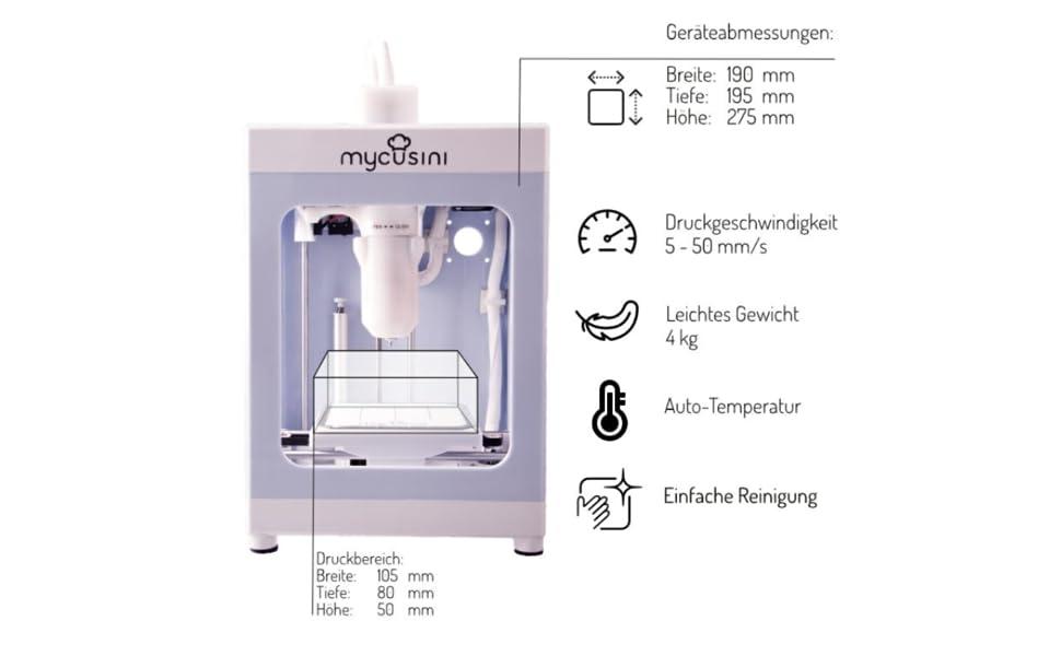 technische Dimensionen 3D Drucker, Druckfeld Temperatur