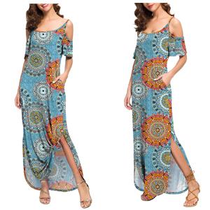GRECERELLE Women's   Summer Long Dress Strapless Strap Cold Shoulder Short Sleeve Split Maxi Dresses