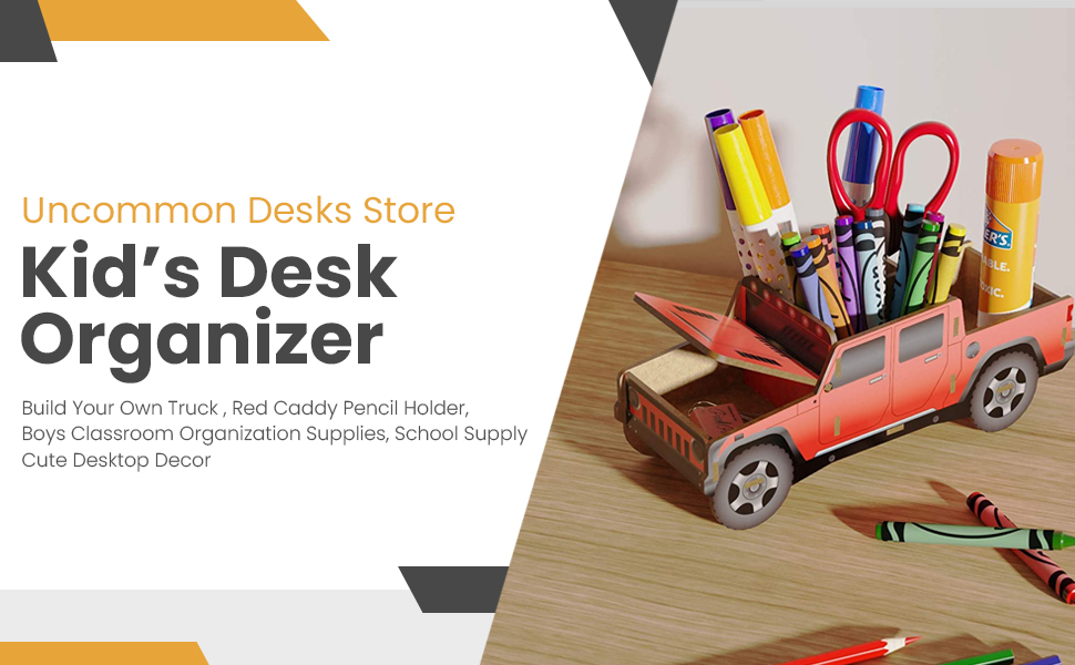 Children Desk Organizer Build Your Own Truck Blue Caddy Pencil Holder Boys Classroom Organization