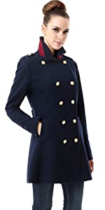 BGSD Women's Victoria Wool Blend Fitted Military Melton Coat